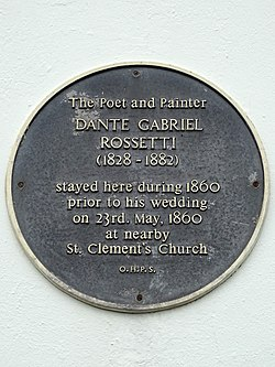 Photo of Dante Gabriel Rossetti black plaque
