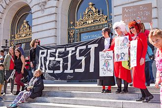 Day Without a Woman - Demonstrators in front of San Francisco City Hall