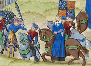 Wat Tyler - Wat Tyler's death (left to right: Sir William Walworth, Mayor of London (wielding sword); Wat Tyler; King Richard II; and Sir John Cavendish, esquire to the King (bearing lance)