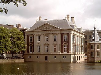 The Dutch Classicist Mauritshuis, named after Prince Johan Maurits and built 1636-1641, was designed by Jacob van Campen and Pieter Post. Den Haag, Mauritshuis vanaf Hofvijver 2006-05-29 16.12.JPG