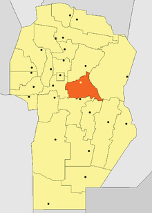 Location of Río Segundo Department in Córdoba Province