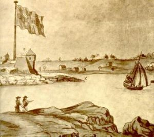 Fort William and Mary - Fort Willam and Mary in 1705 (inset)