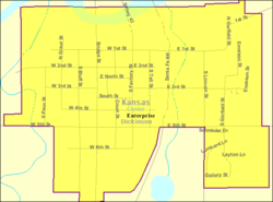 Detailed map of Enterprise, Kansas