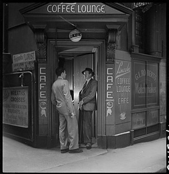 Sydney Push - Image: Dick Gooding (on right of door) from Lincoln Coffee Lounge and Cafe, Rowe Street, Sydney photographed by Brian Bird c. 1948 1951 (5394988486)