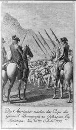Die Americaner machen das Corps des General Bourgoyne zu Gefangnen, bey Saratoga, am 16ten Octobr. 1777.jpg