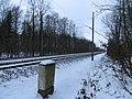 Die Eisenbahnstrecke nach Dänemark, Begrenzung der Marienhölzung beim Wolfsmoor, Flensburg Januar 2013.JPG
