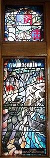 Dieppe Dawn 19 aŭgusto 1942 vitralo Currie Hall.JPG
