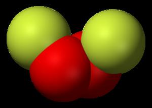 Dioxygen difluoride - Image: Dioxygen difluoride 3D vd W