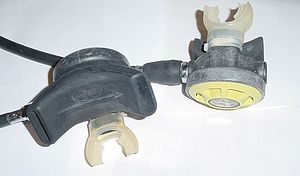 Alternative air source - A pair of demand valves fitted to a scuba regulator