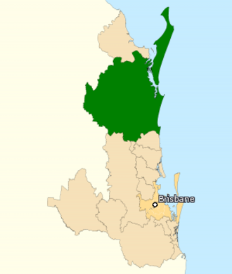 Division of Wide Bay - Division of Wide Bay in Queensland, as of the 2016 federal election.