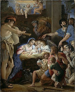 Adoration of the Shepherds (Domenichino) - Image: Domenichino (Domenico Zampieri), The Adoration of the Shepherds, c. 1607 10, Oil on canvas, 143 x 115cm, National Gallery of Scotland
