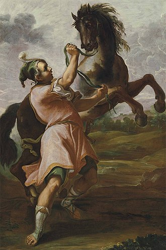 Bucephalus - Alexander and Bucephalus by Domenico Maria Canuti, 17th century