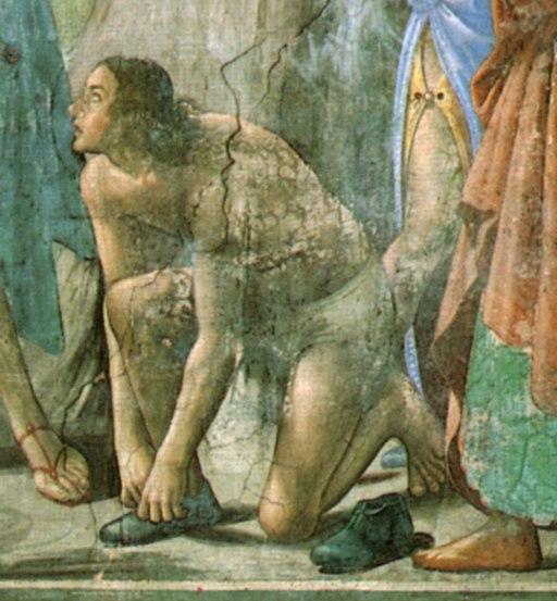 Domenico ghirlandaio, cappella Tornabuoni, dettaglio dal battesimo di cristo, forse ritratto di sebastiano mainardi