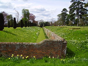 Double-sided ha-ha (sunken wall) at Melford Hall, Suffolk