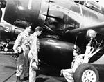 Douglas AD-3W Skyraider with crew at NAS Quonset Point on 3 May 1951.jpg