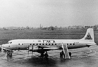 TMA Cargo - TMA Cargo Douglas DC-6A at Manchester Airport in 1964