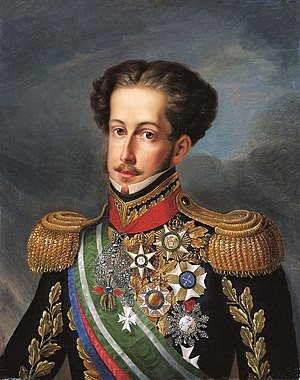 Order of the Southern Cross - Pedro I, first Emperor of Brazil, founder and first Grand Master of the Order, wearing the Grand Cross of the Imperial Order of the Southern Cross (then the Order's highest rank) among other orders.