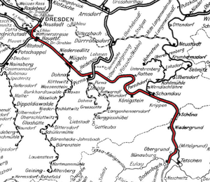 Section of a Saxon network map of 1902