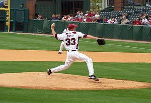 Drew Smyly pitching for the 2010 Arkansas Razo...