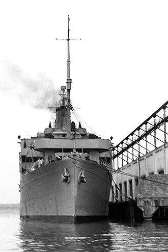 USS Orizaba - Duque de Caxias (U-11) in port, c. 1950s