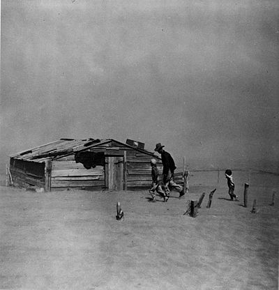 The Dust Bowl ravaged the Oklahoma Panhandle and nearby areas in the 1930s. Dust Bowl Oklahoma.jpg