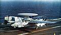 E-2B of VAW-124 on cat of USS America (CVA-66) c1972.jpg