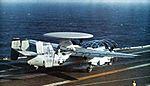 E-2B of VAW-124 on cat of USS America (CVA-66) c1972.jpg
