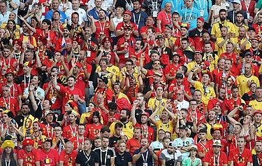 Crowd of Belgian fans in Kaliningrad Stadium at the 2018 World Cup ENG-BEL (12).jpg