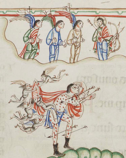 Eadwine Psalter f 66r detail of Christ and demons attacking psalmist