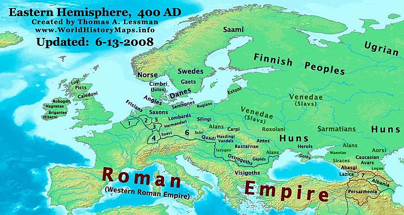 Europe in 400 AD on the eve of the Hunnic invasions. Germanic tribes are marked in blue text. East-Hem 400ad (cropped).jpg