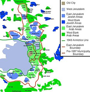 East Jerusalem - Map of East Jerusalem. The Arab areas are coloured green while the Jewish areas are blue.