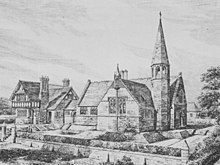 A black-and-white drawing, with the house to the left and the school to the right.  The house is in stone with a jettied timber-framed upper storey; the school is in stone, T-shaped, and has a narrow octagonal turret and spire on its right.