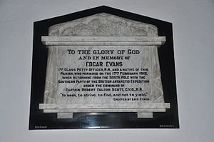 Edgar Evans - Memorial to Evans in St Mary's Church, Rhossili