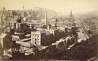 Calton Hill - Edinburgh from the Calton Hill with Calton Jail in foreground, by George Washington Wilson, albumen print, ca. 1865-1895