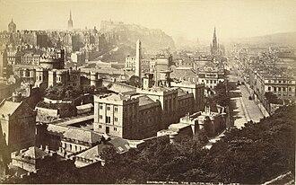 Calton Hill - Edinburgh from the Calton Hill with Calton Jail in foreground, by George Washington Wilson, albumen print, ca. 1865-1895