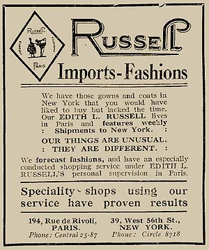 Edith Rosenbaum - A 1922 advertisement for Edith Russell's fashion consulting and importing business.
