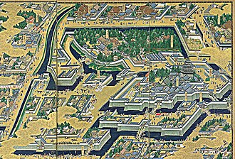 Edo Castle - Edo Castle with surrounding residential palaces and moats, from a 17th-century screen painting.