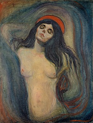 Madonna (Munch painting) - Version from Munch Museum, Oslo. 1894. 90 cm × 68 cm (35 in × 27 in). It was stolen in 2004 and recovered two years later.