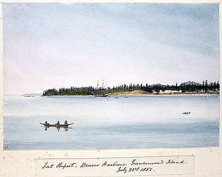 Fort Rupert, Vancouver Island, 1851 Edward Gennys Fanshawe, Fort Rupert, Beaver Harbour, Vancouver's Island, July 23rd 1851 (Canada).jpg