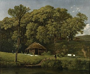 A Barn on the Bank of a Stream in Gelderland