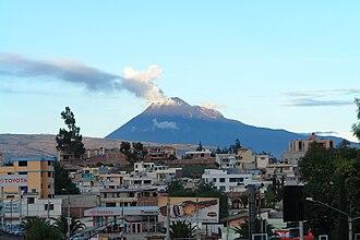 Riobamba Canton - Tungurahua volcano as seen from Riobamba