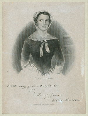Eliza Allen - Frontispiece of a book by Eliza Allen, signed by the author.