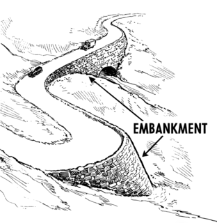 Embankment (transportation) wall or bank to carry a road or rail over low ground or waters edge