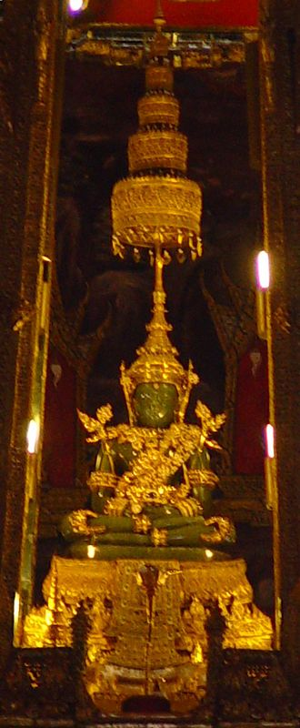 Taksin - Closeup of Emerald Buddha in summer season attire