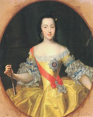 1745 in Russia - Portrait by George Christoph Grooth of the Grand Duchess Ekaterina Alekseyevna around the time of her wedding, 1745