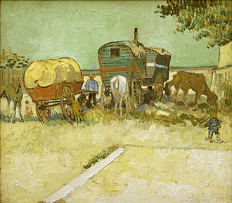 Koechlin family - Vincent van Gogh, Encampment of Gypsies with Caravans, 1888, donated by Raymond Koechlin, now in the Musée d'Orsay