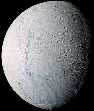 Enceladus - South polar vantage of Enceladus's anti-Saturn hemisphere, using a false color scheme in which fractured areas show up as blue