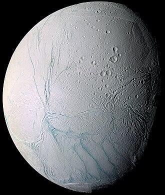 Enceladus - South polar vantage of Enceladus's anti-Saturn hemisphere, using a false color scheme in which fractured areas show up as blue