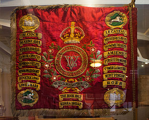 Battle honour - The regimental colours of the 5th Royal Inniskilling Dragoon Guards, displaying the battle honours awarded to the regiment.