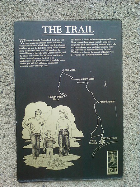 File:Ensign Peak, The Trail plaque.JPG
